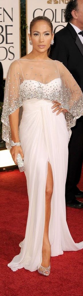 JLo Jennifer Lopez on the Red Carpet Fashion #dress - Zuhair Murad ivory white gown with spangled beaded shawl cape