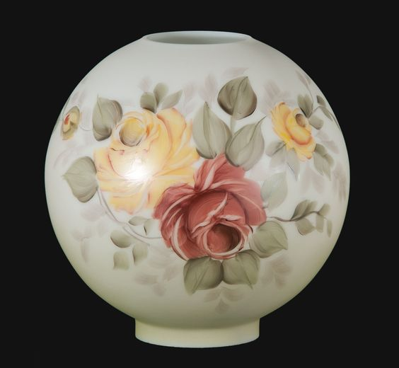 """Victorian Glass PRINCESS    blown American made opal glass ball shade with hand painted """"Victorian ..."""