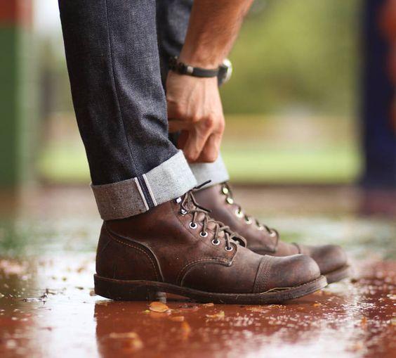 "selvedge1: ""Rainy vibes this #americanmade #redwingwednesday // @shockoe_atelier Slim Kojima jeans // @redwingheritage Iron Ranger 8111 boots . IG: @selvedge1 """
