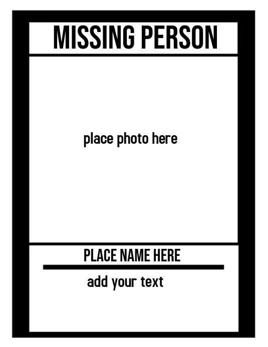 Missing Person Person Template Missing Posters Missing Persons Missing persons posters template
