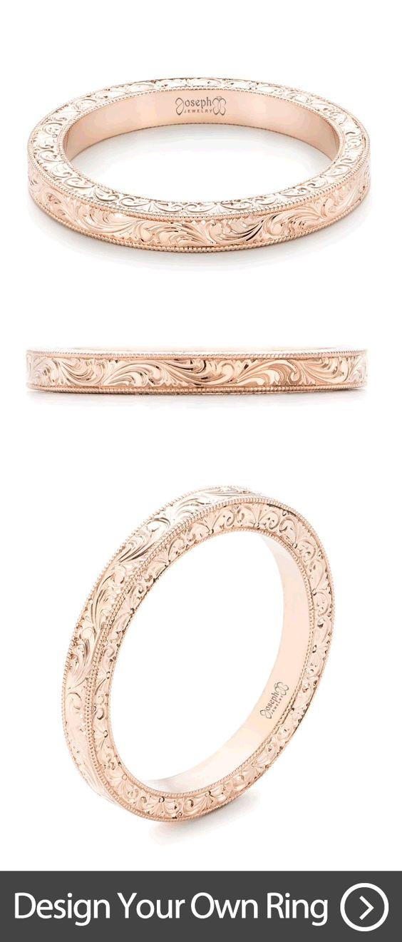 Custom Hand Engraved Rose Gold Wedding Band