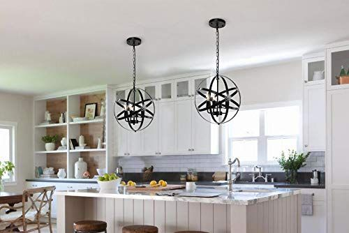 Metal Spherical Shade Black Chandelier For Dining Room Black