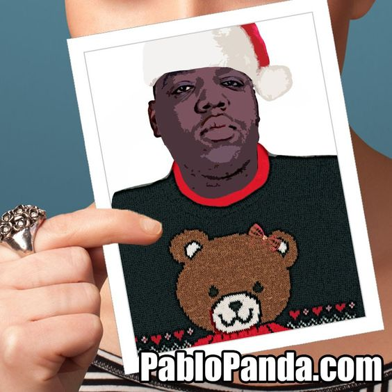 Notorious BIG Ugly Sweater Holiday Greeting Card by Pablo Panda – Ugly Birthday Card