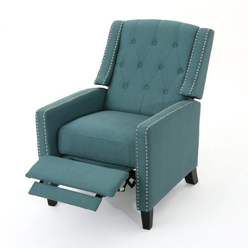 Dark Teal Tufted Upholstered Recliner Recliner Classic Armchair Recliner Chair