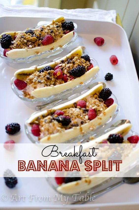 Breakfast Banana Split~ Yogurt, fruit, and granola, what a healthy way to start your day! Treat yourself and your kids with this healthy breakfast treat.