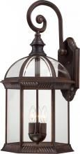 """Nuvo 60/4968 - Boxwood - 3 Light 26"""" Outdoor Wall W/ Clear Beveled Glass"""