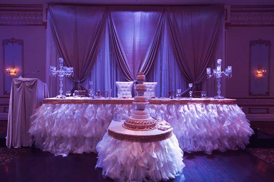 Gold, White and Purple Head Table Decor  www.tradesensation.com