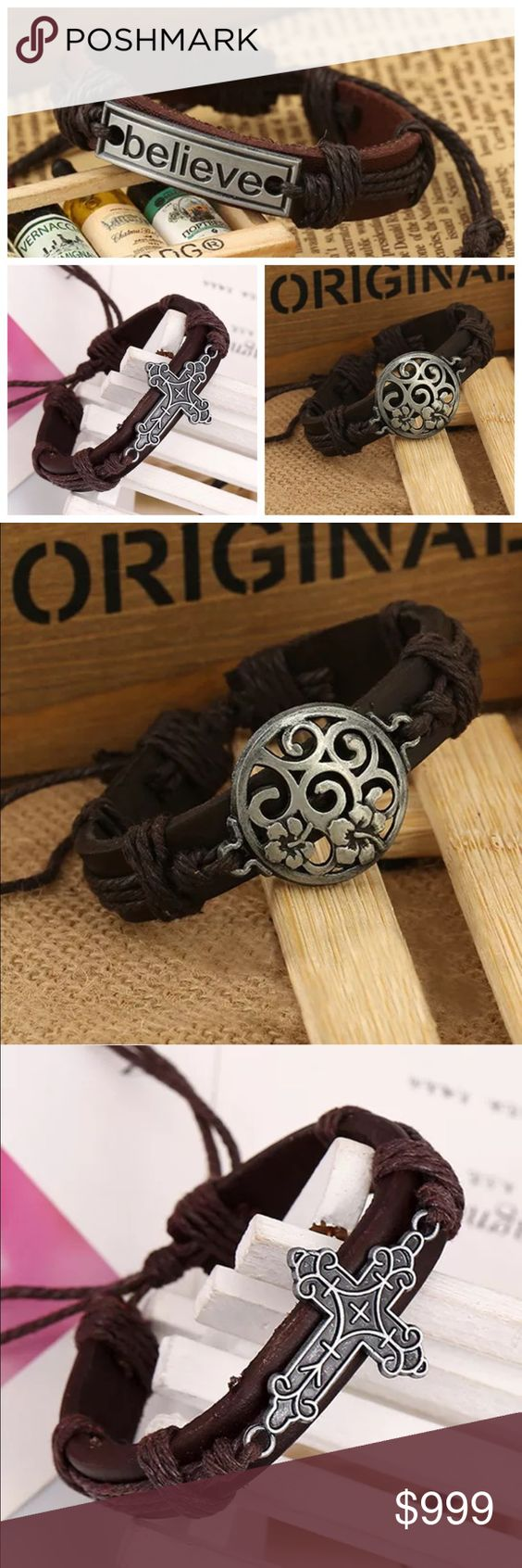COMING SOON! 🆕 Genuine Leather & Hemp Bracelets Believe, Cross, and Celtic Floral will be available as pictured. Adjustable length. Should arrive to me in about two weeks. I will have 2 of each available. To be notified when available, like or leave a comment. Coffee Bean's Boutique Jewelry Bracelets