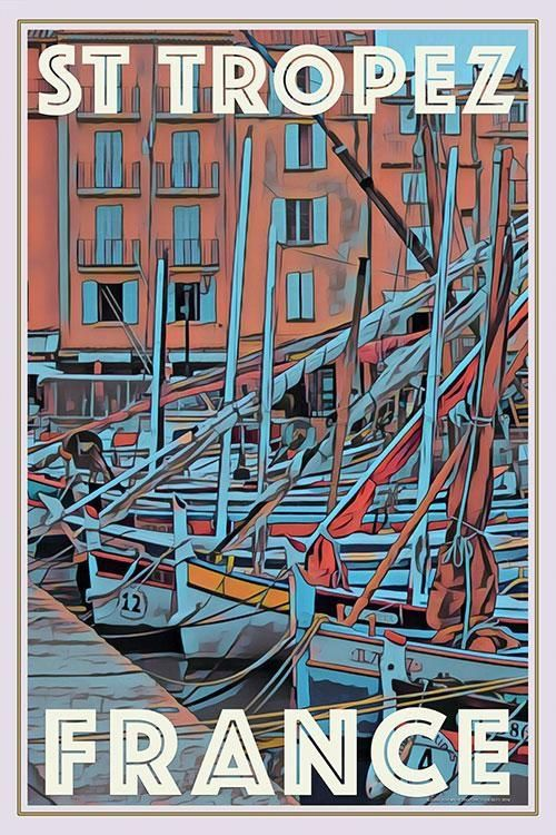 Vintage Saint Tropez French Tourism Poster A3//A4 Print
