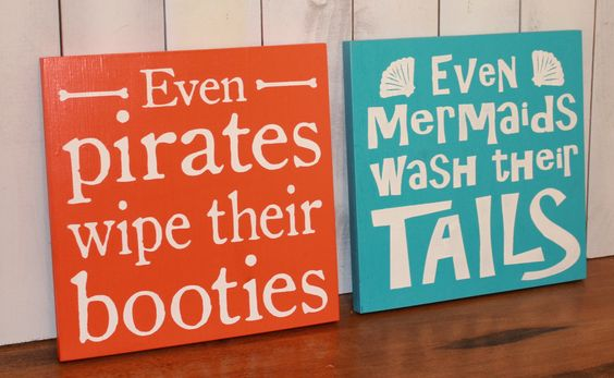 Even Mermaids wipe their Tails sign/Even by TheGingerbreadShoppe, $47.95