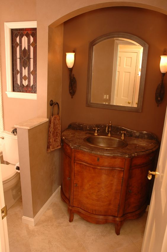 9 great design ideas for half baths and powder rooms small bathroom vanities powder and half. Black Bedroom Furniture Sets. Home Design Ideas