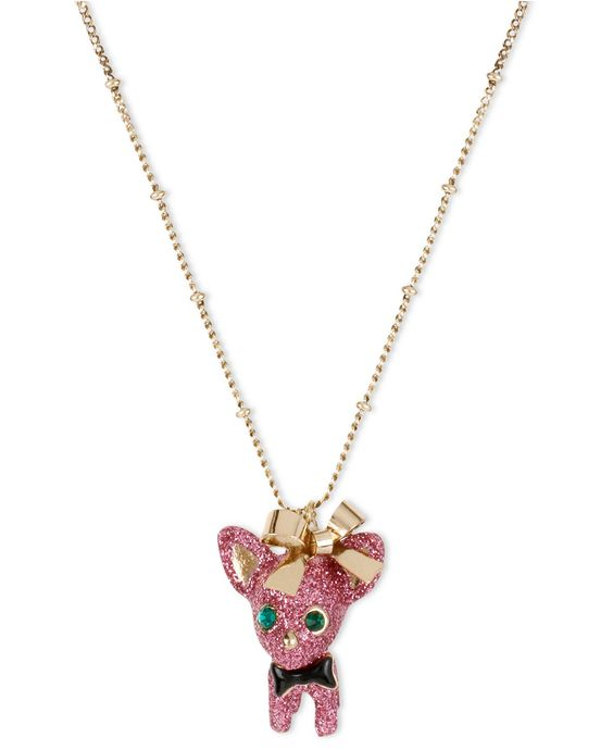 Betsey Johnson Necklace, Gold Tone Pink Glitter Chihuahua Pendant Necklace - All Fashion Jewelry - Jewelry & Watches - Macy's
