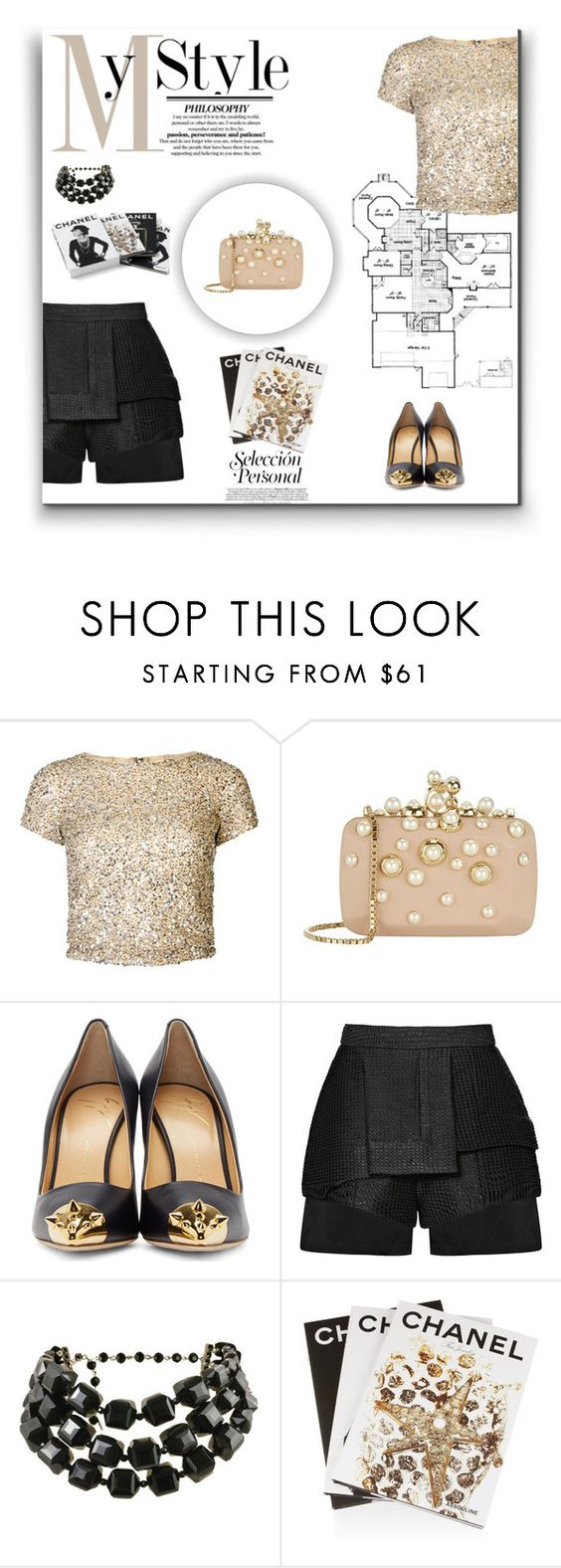 """""""My Style"""" by ch-swisss ❤ liked on Polyvore featuring Alice + Olivia, Elie Saab, Giuseppe Zanotti, E L L E R Y, Tarina Tarantino, Assouline Publishing and Chanel"""