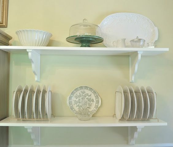 dining room, shelves, dishes, white  @Cha Cha @The Heartfelt Home