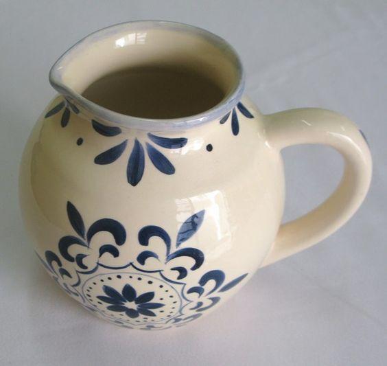 Jarra Bojuda Renda Azul cerâmica