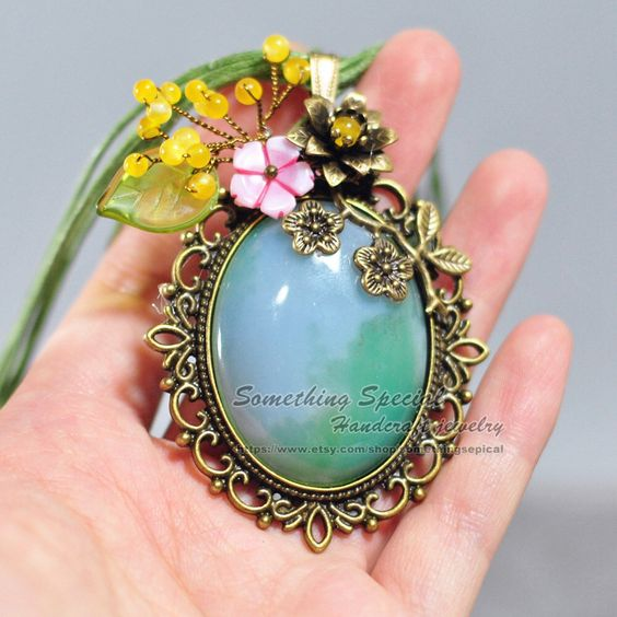 Agate necklace Blue green agate necklace Vintage style bronze shell flower yellow stone beads branch gemstone pendant jewelry unique gift by somethingsepical on Etsy https://www.etsy.com/listing/252787083/agate-necklace-blue-green-agate-necklace