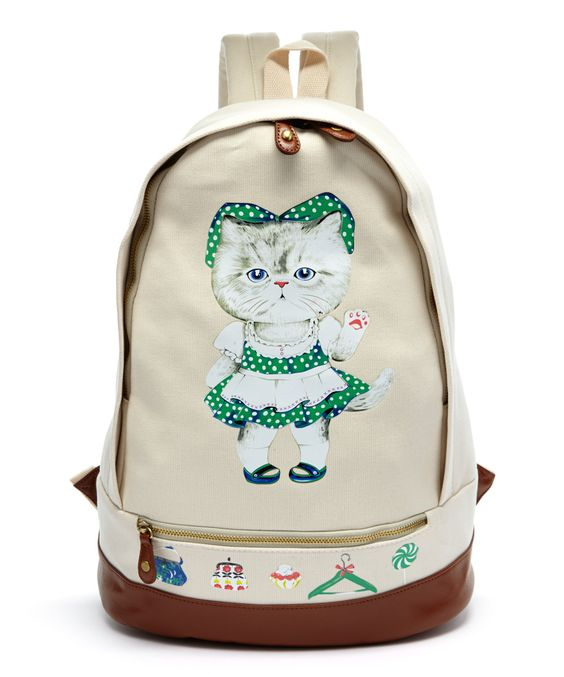 Kitty Cat Backpack | Sleepyville Critters Beige Kitty Cat Maid Backpack | zulily