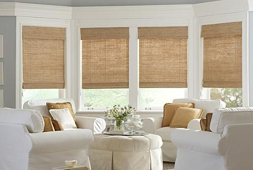 monochromatic bamboo woven shades with valance
