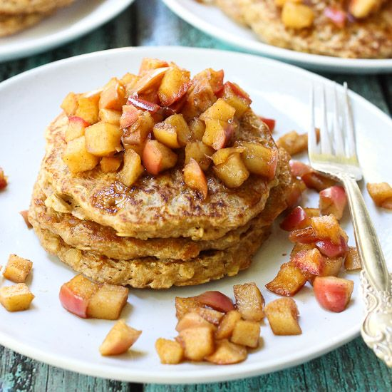 Oatmeal pancakes made from scratch using 100% whole grain oats and ...