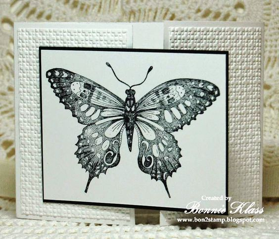 Black and White butterfly gate-fold card by Bonnie Klass