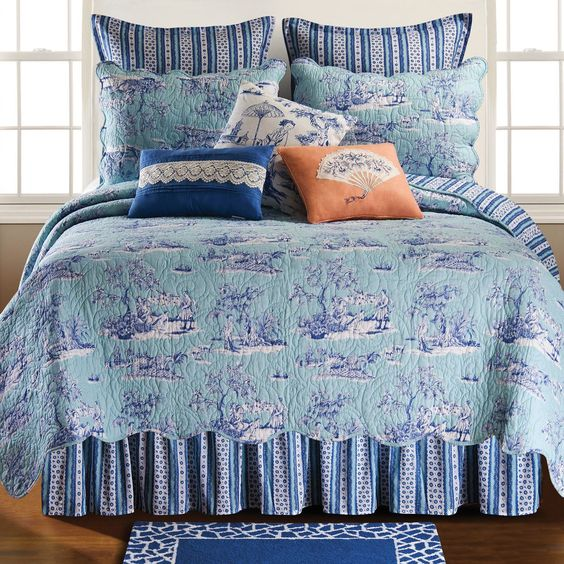 Features:  -Coordinating accessories and quilt.  -Licensed Williamsburg design.  -Machine washable.  -Hampstead collection.  Product Type: -Platform.  Color: -Blue.  Material: -Polyester/Cotton.  Lice
