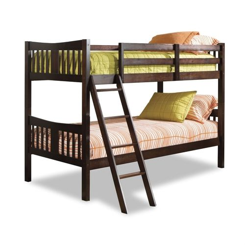 Twin over Twin Solid Wood Bunk Bed in Espresso Finish