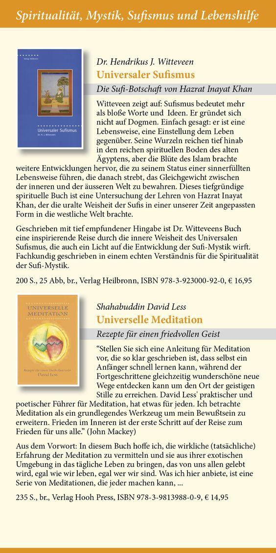 Katalog 2015 vom Verlag Heilbronn -  Seite 14 - Sufibücher: Universaler Sufismus - Die Sufi-Botschaft von Hazrat Inayat Khan, Universelle Meditation von Shahabuddin David Less.   www.verlag-heilbronn.de
