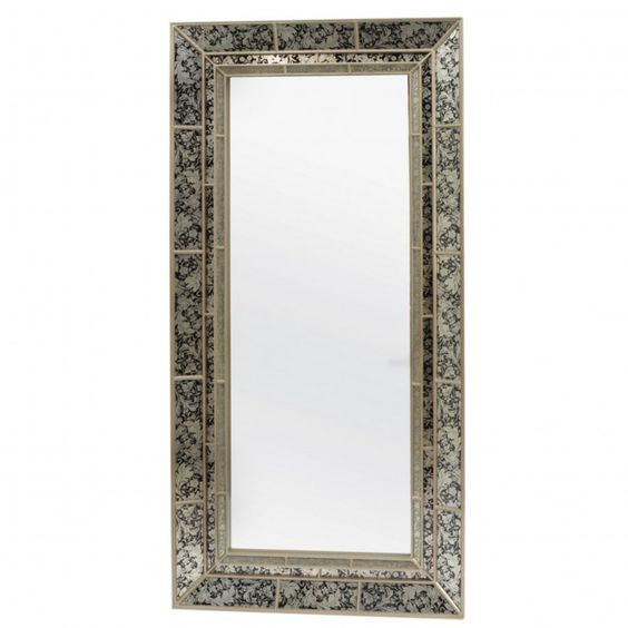 Champagne Floral Extra Large Mirror With Hand Painted Glass Frame ...