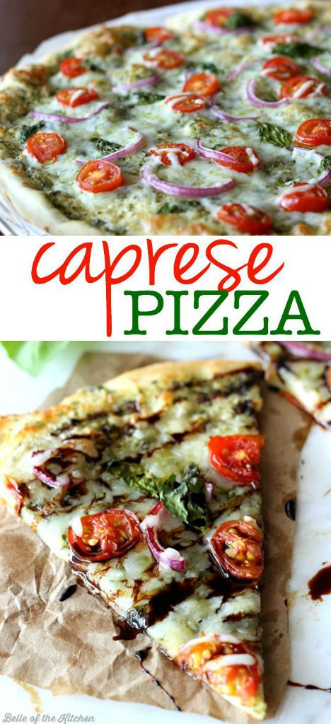 This Caprese Pizza is made with pesto, tomatoes, red onions, and fresh basil, then topped with mozzarella and a drizzle of balsamic reduction at the end!