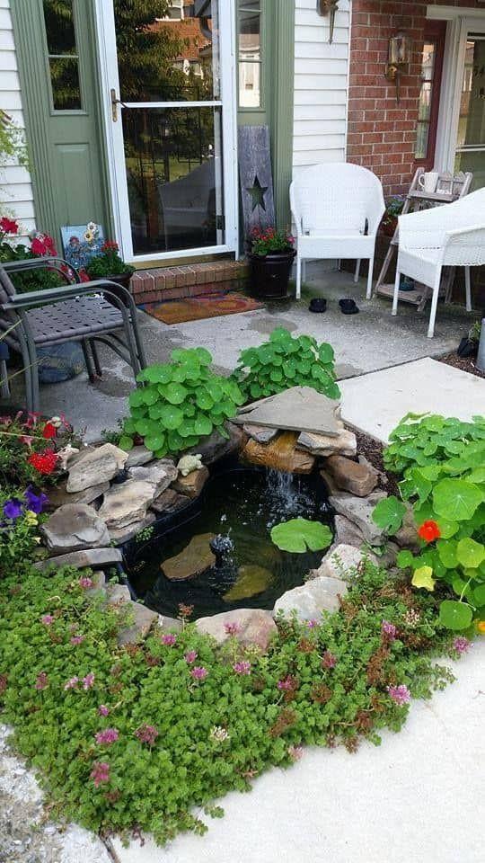42 ไอเด ย จ ดสวนบ อปลาหน าบ าน ม บ อปลาสวยๆได ด วยต วเอง Small Backyard Ponds Pond Landscaping Waterfalls Backyard