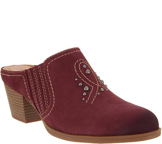 Earth Nubuck Western Detailed Mules - Mendon - Page 1 — QVC.com