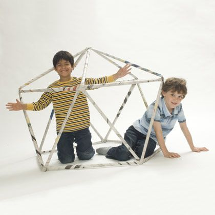 Geodesic Dome | Crafts | Spoonful- use pipe cleaners to hold the newspaper tubes together so it's reusable
