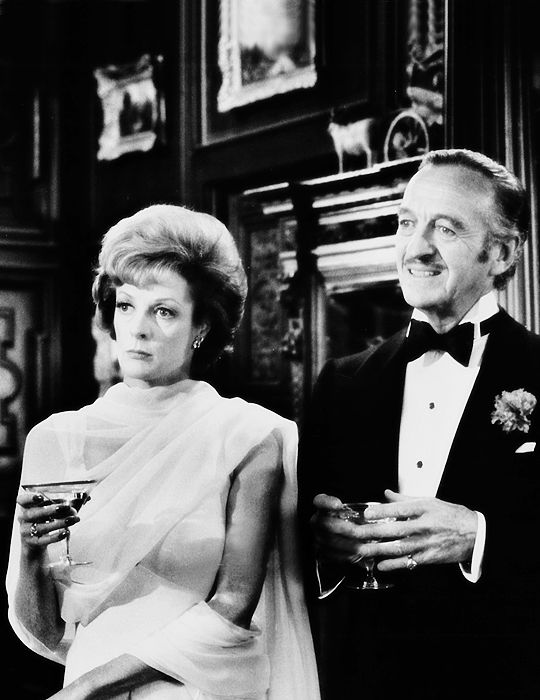 Maggie Smith as Dora Charleston, with David Niven as Dick Charleston - Murder by Death (1976)..
