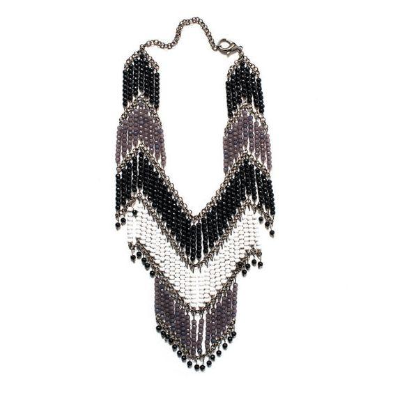 Bohemian Black & White Cascading Necklace