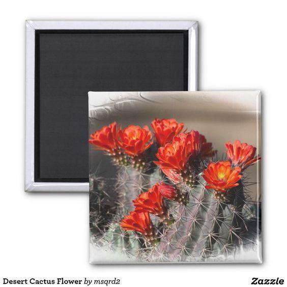 Desert Cactus Flower 2 Inch Square Magnet