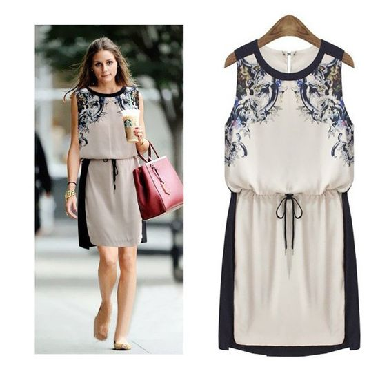 D7067 New 2014 Fashion European Spring Summer Dress Casual Women Slim Notre Dame Printing O-Neck Dresses Plus Size Free Shipping $19.68