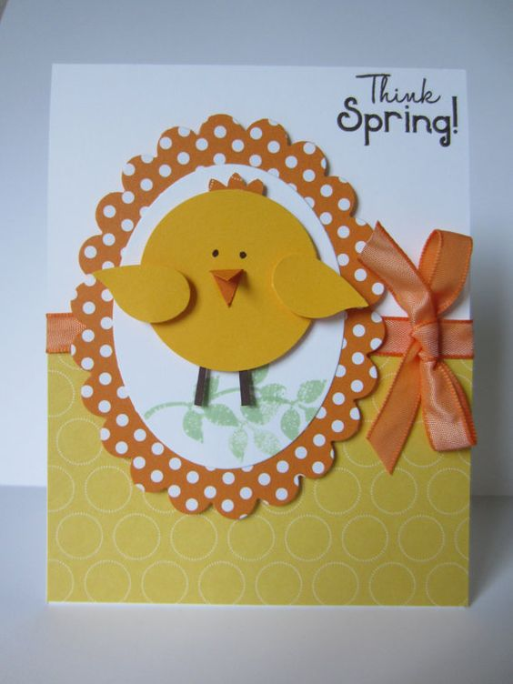 Easter Chick Greeting Card Handmade Hand by HawaiiPaperParty, $5.00