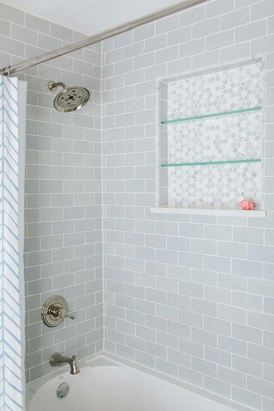 Bath Shower Tiles. Bath Shower with gray subway tiles. Bath Shower Tiling Ideas. Kate Marker Interiors.