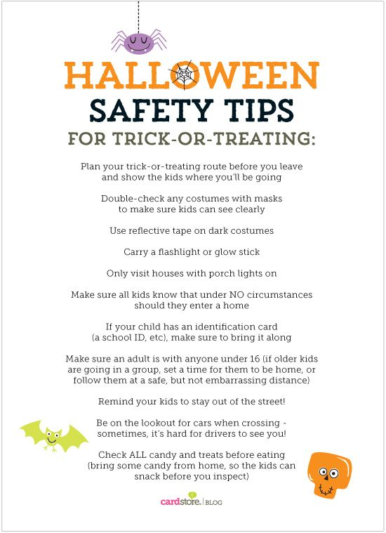 Halloween Safety tips for your trick-or-treating adventures! {free printable download} | Cardstore Blog: