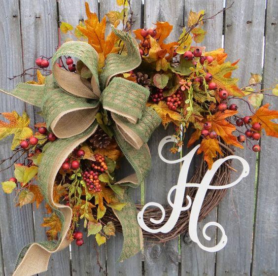 Fall Wreath Wreath for Fall / Autumn Burlap Fall by HornsHandmade