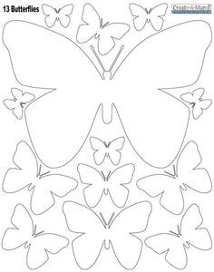 """White Butterly Wall Stickers ~Instantly create a beautiful butterfly inspired room with peel & stick butterfly wall decals in white. The decals are made of vinyl, peel & stick removable wall decal appliques. (1) 11"""" sheet of peel & stick butterfly wall decals. (13) Butterflies: 12""""-2"""". You can use them on glass, walls, furniture even cabinets. Look at this beautiful butterfly theme idea!"""