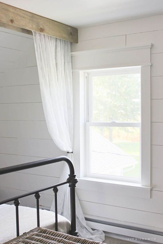 Farmhouse Window Trim Beautiful Ceiling Curtains And