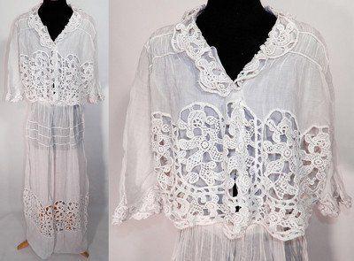 Vintage Lace Blouses   Edwardian Vintage White Cotton Batiste Lace Over Blouse Top Graduation ...