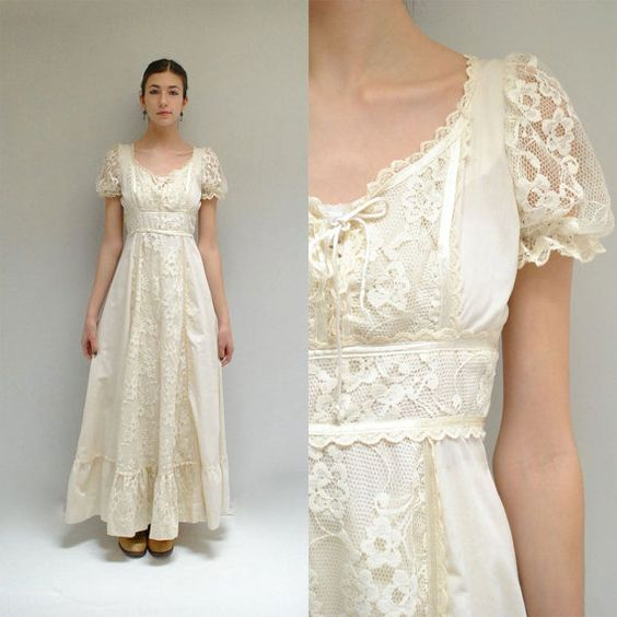 Bohemian Wedding Gown // Cotton Lace Wedding Dress // WOODLAND ...