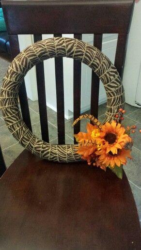 Fall wreath zebra print burlap ribbon