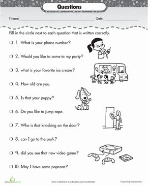 Worksheets 2nd Grade Sentence Worksheets correct the sentences questions punctuation and second grade worksheets questions