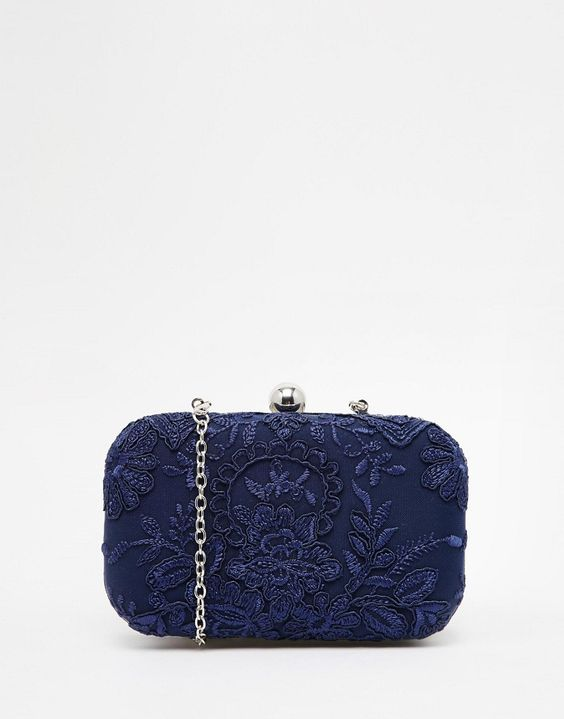 Chi+Chi+London+Box+Clutch+Bag+With+Navy+Piped+Lace+Overlay
