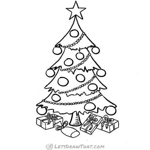 Fancy Christmas Tree Drawing Completed Pencil Outline Let S Draw That In 2020 Christmas Tree Drawing Tree Drawing Simple Christmas Tree