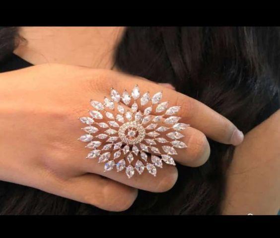 Giftsindianjewelry CZ Cubic Rings Beautiful Statement Ring Gold Plated Wedding Bridal Engagement Ring Party Wear Fashion Ethnic Handmade Set