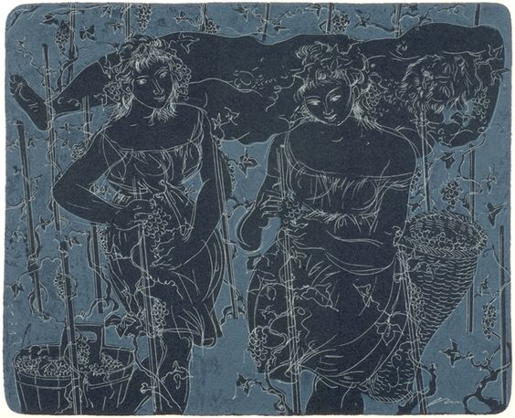 Hans Erni (Swiss 1909-2015), Bacchus in the vineyard, lithograph, 1955. Recommended by RAFO, Galleria Morcote & swissartgroup
